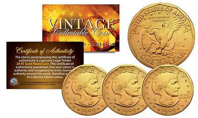 Susan B. Anthony US Coin Authentic 24K GOLD PLATED w/ Capsules & COAs (LOT of 3)