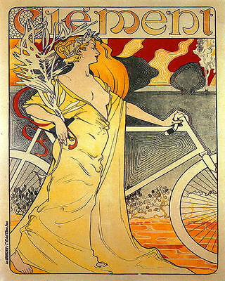 POSTER CYCLES CLEMENT BICYCLE JAPONESE LADIE CYCLING BIKE VINTAGE REPRO FREE S//H