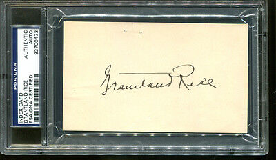 Grantland Rice Signed Index Card 3x5 Autograph Writer PSA/DNA 83700473
