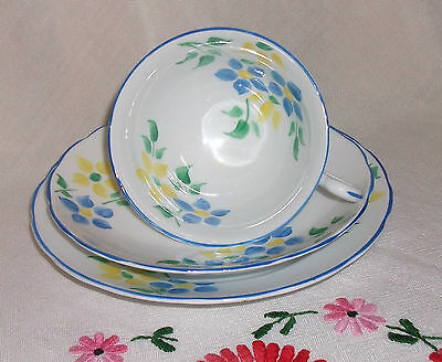Vintage Art Deco Hand Painted  Afternoon Tea Cup Saucer & Plate Trio
