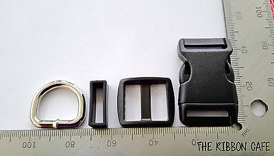 Buckles Black 20mm wide 4-piece sets with WELDED d-ring