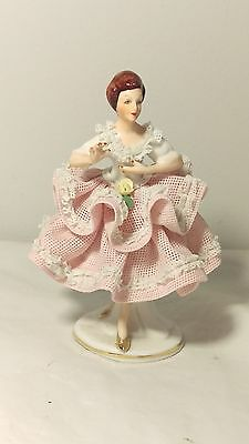 """Sandizell Dresden 678 Lace FIgurine of a Ballerina in Gold Slippers 4"""" Tall"""