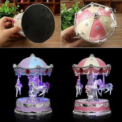 Horse Carousel Music Box Toy with Light Clockwork Kids Children Gifts