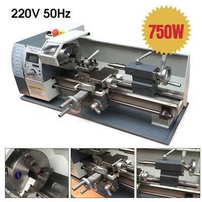 """800W Mini Metal Lathe Small Bench Top 8x16"""" Variable Speed 220V&4"""" 3 Jaw Chuck"""