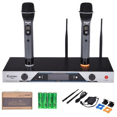 Audio 2x200 Channel UHF Wireless Hand Held Microphone Mic System LCD Display NEW