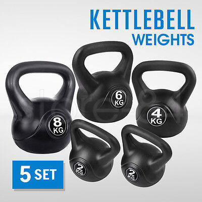 5 x Kettle Bell Weights Set Gym Training Fitness Kit Exercise Kettlebell