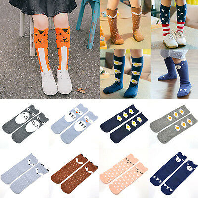 Baby Kids Toddlers Girls Knee High Cotton Socks Tights Leg Stockings For Age 0-6