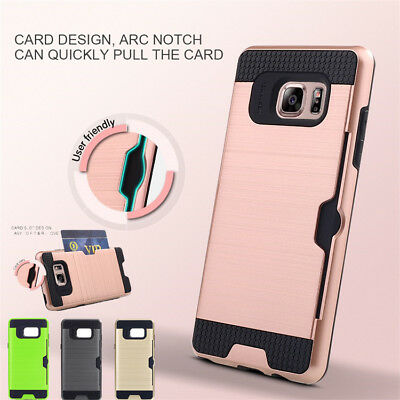 Shockproof Hybrid Wallet Card Pocket Case Cover for Samsung Galaxy S7 S8 S9+