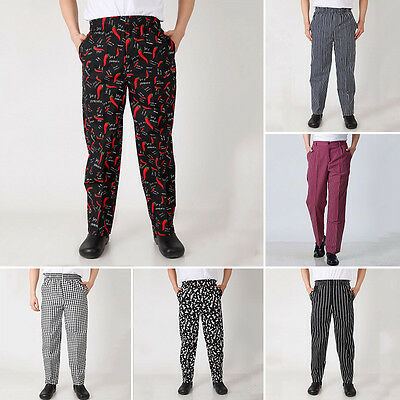 2ab09a5e671098 Chef Work Pants Restaurant Uniform Trousers Cooking Elastic Waist Slacks BCL