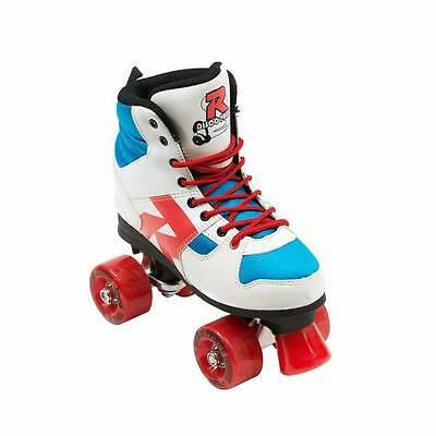 Roces Disco Palace Quad Skates - White/Blue/Red - Youth UK4
