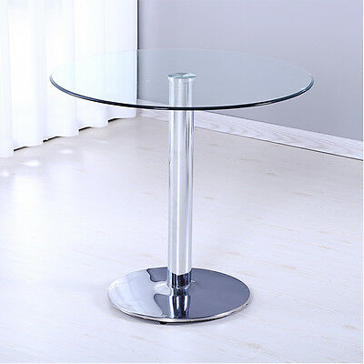 Modern Circle Chrome and Clear Glass Round Pedestal Kitchen Coffee Dining Table