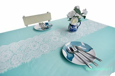 Wedding Table Runners Chair Sashes Bows 27*300cm Lace Home Table Decor White