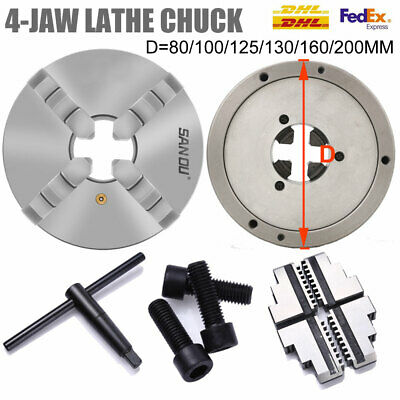 4 Jaw Lathe Chuck Self Centering 80 100 125 130 160 200 250MM Hardened Steel CNC