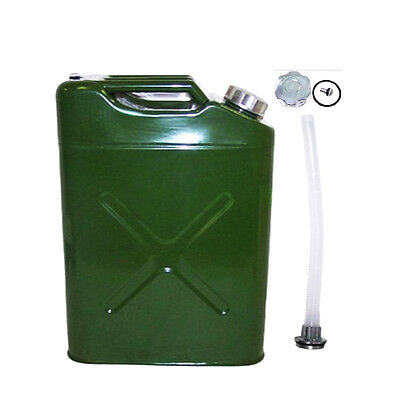 Jerry Can 5 Gal 20L Green Steel Gasoline Gas Fuel Tank Emergency Army Green NEW