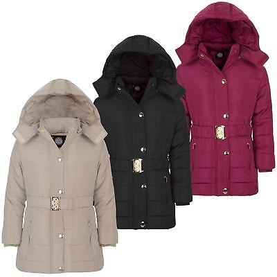Girls Long Belted Quilted Winter Jacket Kids Detach Hood Padded Zip Coat 3-14 Y