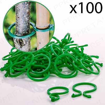 100 x RING PLANT TIES Reusable Support Clips Flower Bush Vine Tree Cable Holder