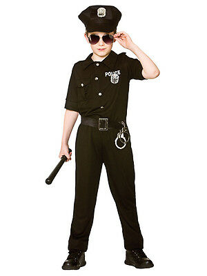 Boys Kids 8-10y New York Nyc Us Cop Police Officer Fancy Dress Costume Outfit