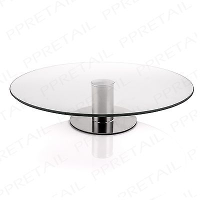 LARGE 30cm MODERN GLASS CAKE STAND Rotating/Turning Decorating Display Plate