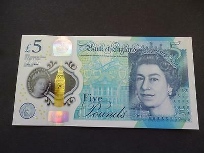 *brand New * Aa13 £5 Pound Note-Plastic-Polymor New Uncirculated