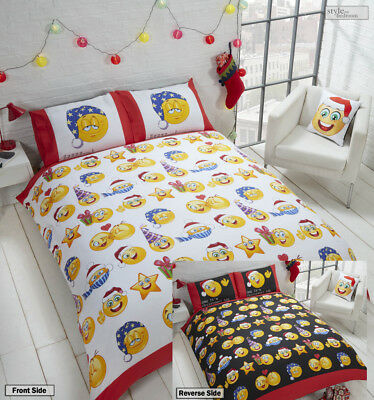 Christmas Emoji Icons 2 Sided Smiley Face Emotion Reversible Duvet Quilt Cover