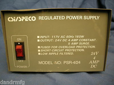 CSI/SPECO PSR-424 Regulated Power Supply 24VDC 4A Fused Short Protect
