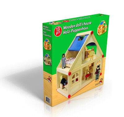 Wooden Dolls House With Furniture and Doll Family