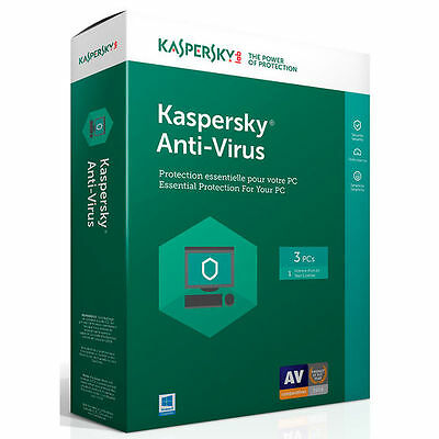 Kaspersky Anti-Virus 2017  3 PC  1 Year, Sealed Retail Box