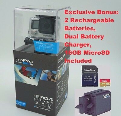 GoPro Hero4 Silver Digital Camera Camcorder 2 Batteries 16GB MicroSD CHDCB-401