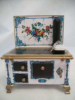 Flower Tile Kitchen Stove dollhouse miniature JS118949  metal 1/12 scale Germany