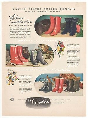 Vintage 1947 GAYTEES Over the Shoe Rubber Galoshes RARE 1940's Magazine Print Ad