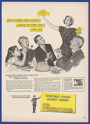 Vintage 1947 WESTERN UNION Money Order Old RARE 1940's Magazine Print Ad