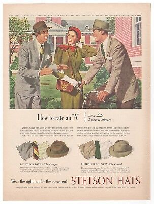 Vintage 1947 STETSON HATS Campus Casual Men's Fashion 1940's Magazine Print Ad