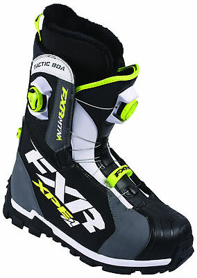 FXR Mens Charcoal Grey/White/Hi-Vis Yellow/Black Tactic BOA Focus Snow Boots