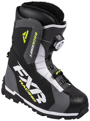 FXR Mens Charcoal Grey/White/Hi-Vis Yellow/Black Backshift BOA Snowmobile Boots