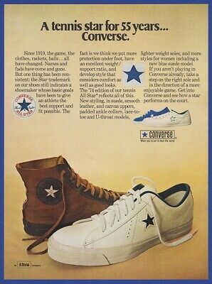 Vintage 1974 CONVERSE Tennis Shoes Athlete Sports Fashion Print Ad 1970's 70's