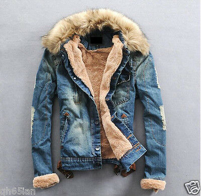 2016 NEW Mens Woman winter warm fur collar fur lining denim jacket coat XS-XXXL