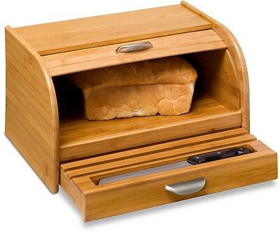 Bamboo Bread Box Kitchen Counter Food Storage Container Free Shipping New