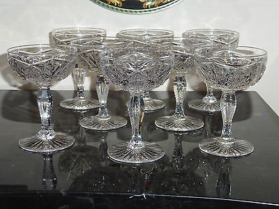 8 American Brilliant Cut Period Matching Champagne Glasses With Teardrop Stems