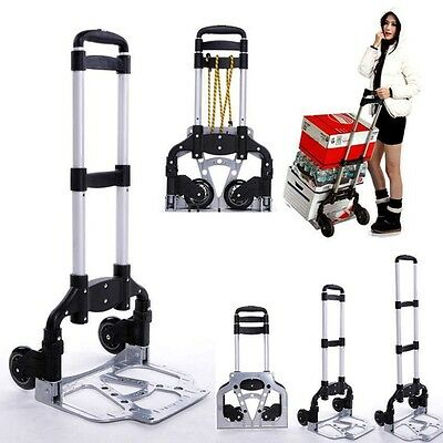 170lbs Folding Dolly Push Truck Hand Collapsible Trolley Luggage Aluminium Cart