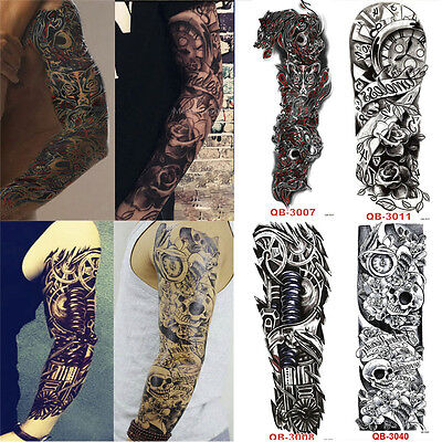 UK Waterproof Tattoo4 Full Arm Skull Temporary arm Body Removable Sticker NEW