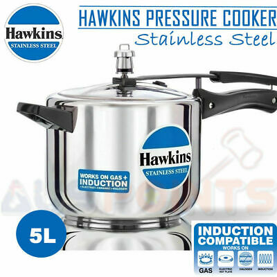 5L Hawkins Stainless Steel Pressure Cooker - 5 Litres Lid Cookware Induction