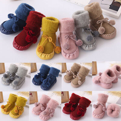 Toddler Baby Boy Girl Anti-Slip Boot Socks Cartoon Warm Step Socks Shoes Slipper