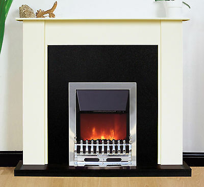 Fireplace Suite - Electric Fire Heater Cream Surround Black Back Panel Hearth