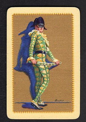Vintage Swap/Playing  Card - Baribal  Jester - Gold Detail (LINEN)