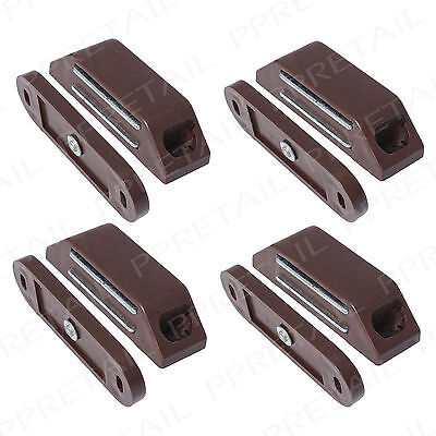 4 x LARGE MAGNETIC CUPBOARD DOOR CATCHES Brown Strong HEAVY DUTY Cabinet Latch
