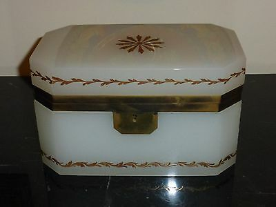 Superb Heavy Antique French Hand Painted Large Ormolu Opaline Glass Jewelry Box