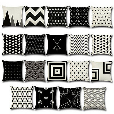 Geometric black&white Cotton Linen Pillow Cases Throw Cushion Cover Home Decor