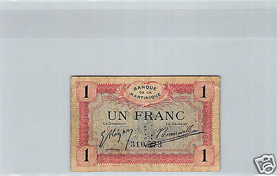 Martinique 1 Franc Nd (1915) N° 310573 Pick 10