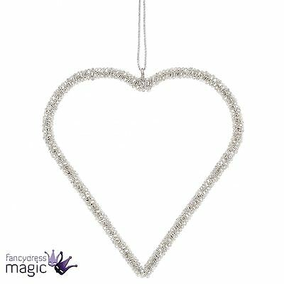 *Large Silver Crystal Hanging Heart Love Home Gift Christmas Hanger Decoration*