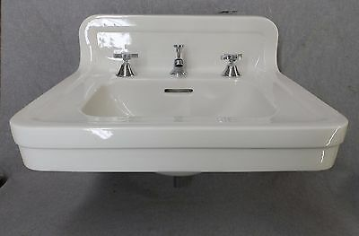 Antique White Porcelain Ceramic Bathroom Sink Vtg Crane Pottery Plumbing 1635-16